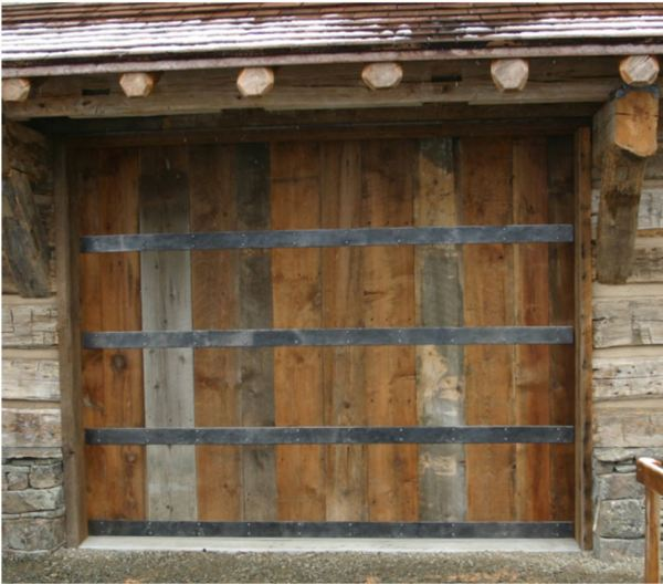 Reclaimed Barnwood With Steel Bands Overhead Garage Door