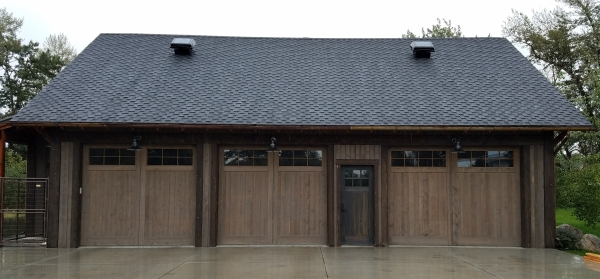 Circle Sawn Fir Overhead Garage Doors
