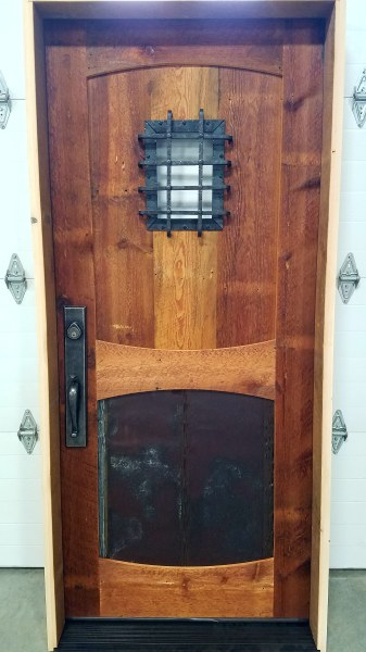 Reclaimed Pine Entry Door With Steel Accents