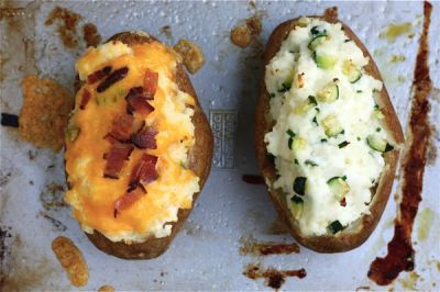Two entirely different jacket potatoes