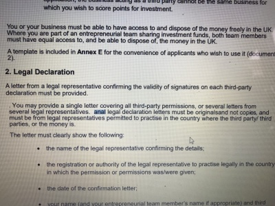 'Anal' legal declaration letters