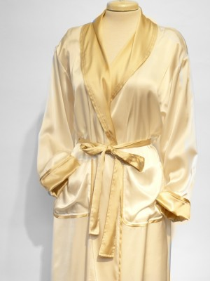 SILK ROBE CLASSIC WITH PIPING $410.00 creme and gold