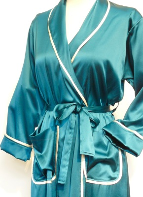 SILK ROBE CLASSIC WITH PIPING $410.00 teal/creme