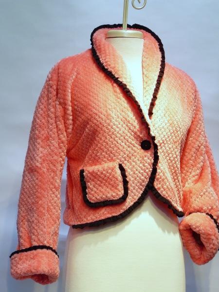 BED JACKET SHRUG MINKY WAFFLE $138.00 coral