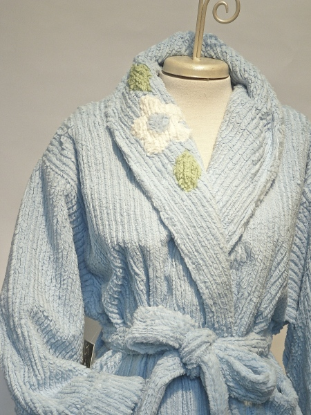 MINKY CHENILLE WITH VINTAGE DETAIL $210.00 blue