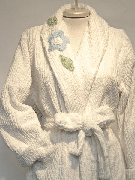 MINKY CHENILLE WITH VINTAGE DETAIL $210.00 white