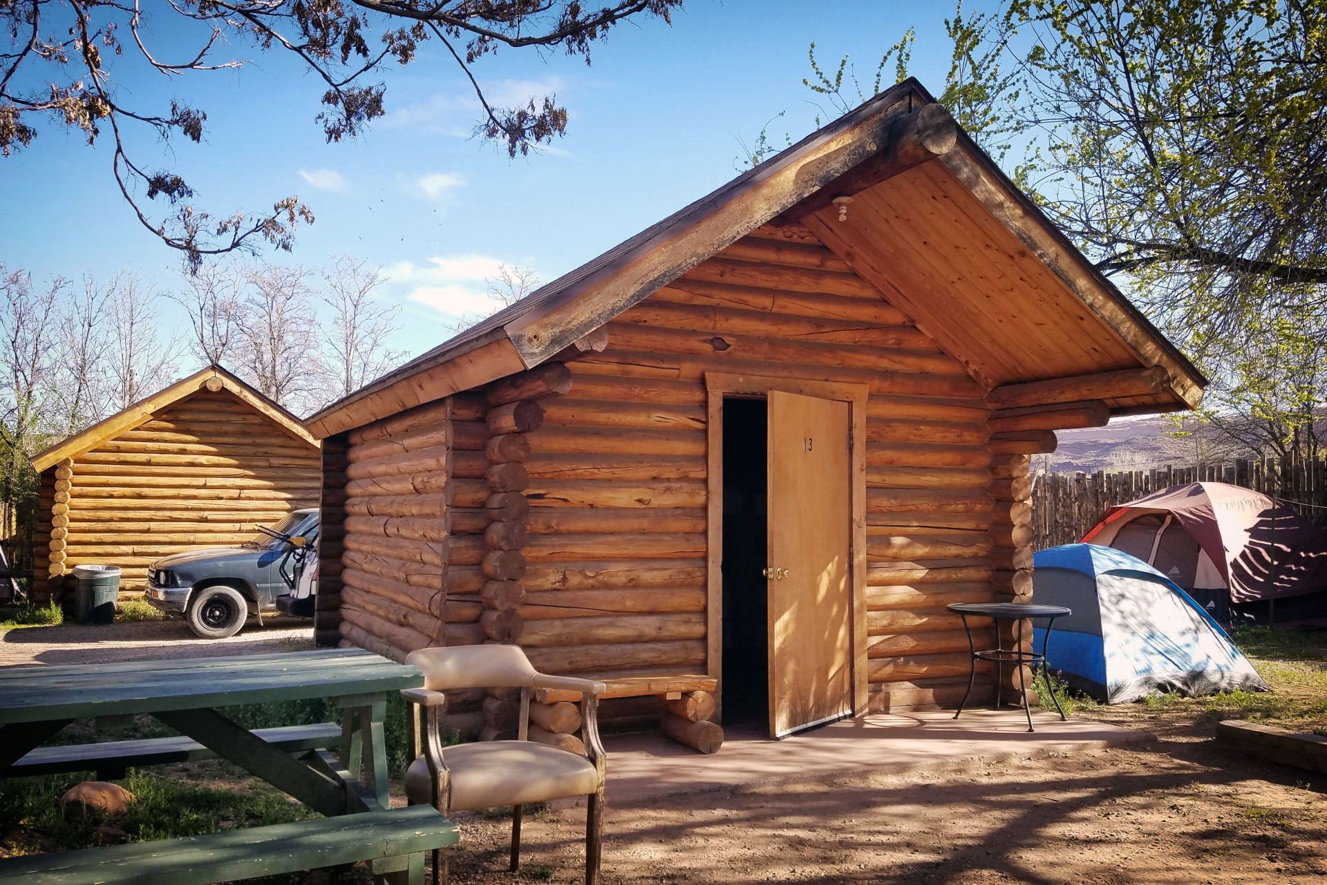 a small cabin at the Lazy Lizard Hostel in moab, utah