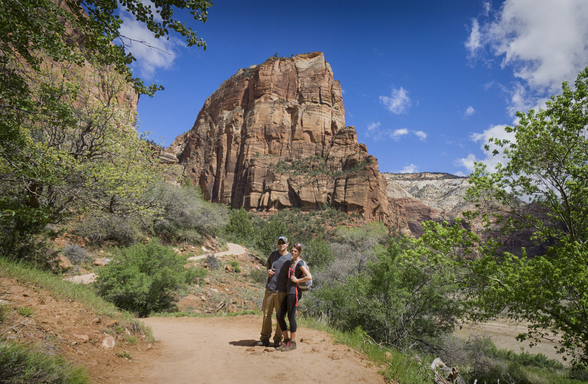 A shot of me and my girlfriend before hiking up to angels landing