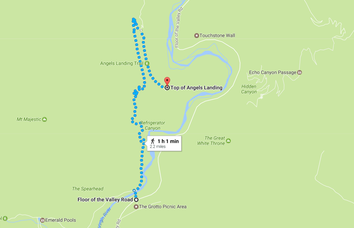 map showing the trail to the top of angel's landing