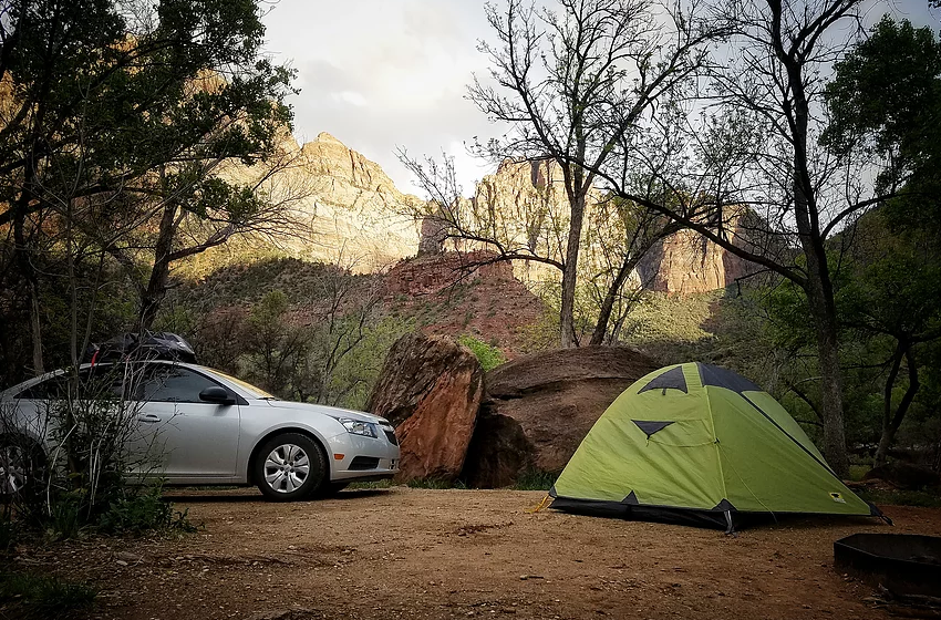 south campground in zion national park overlooking our tent spot