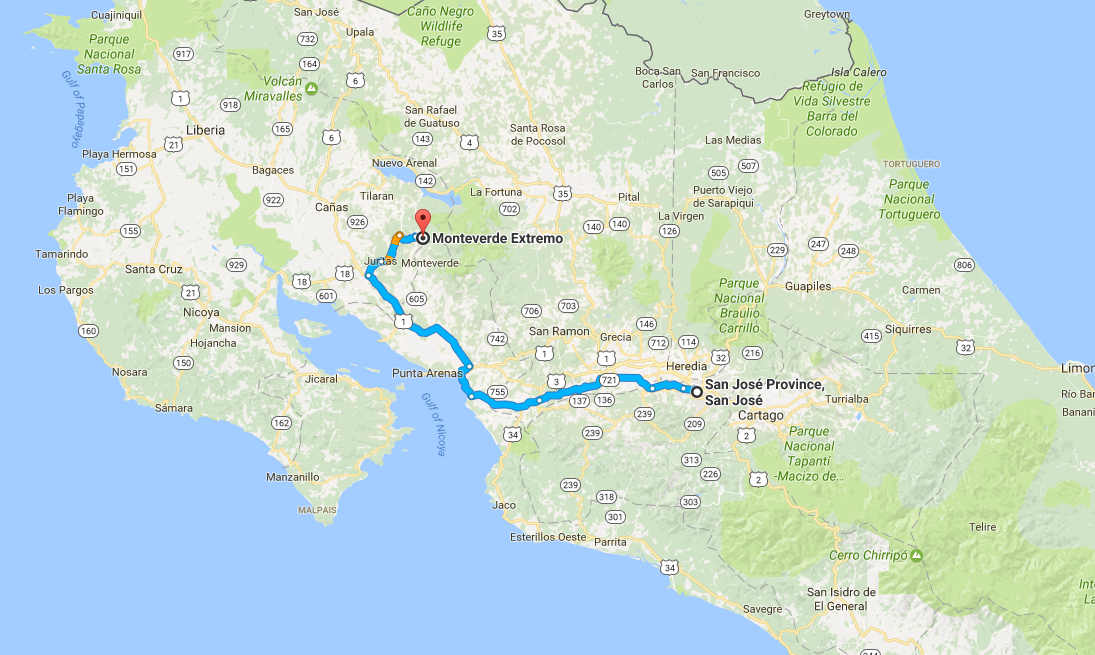 map showing how to get to monteverde costa rica from san jose