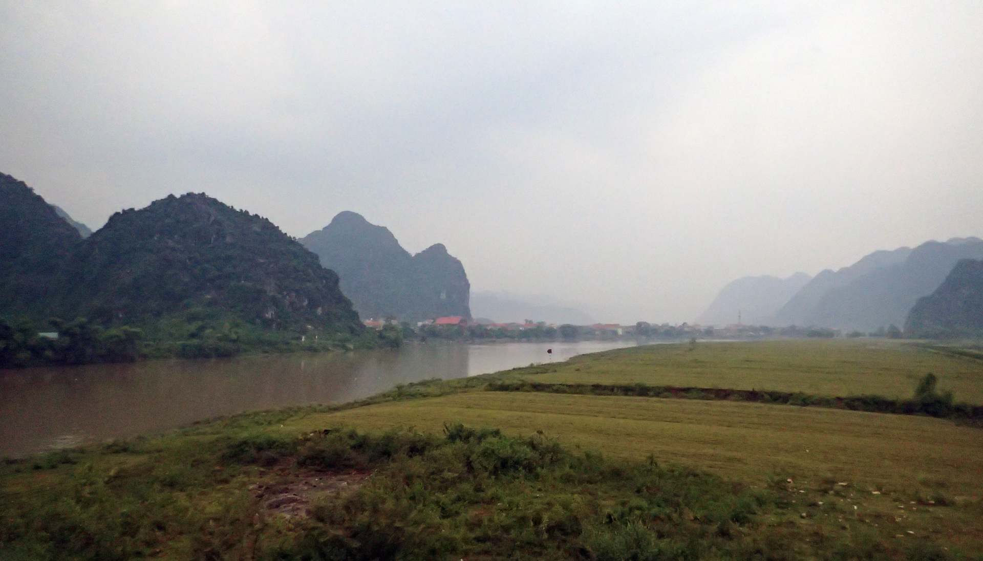 Overlooking the small town of Phong Nha in vietnam