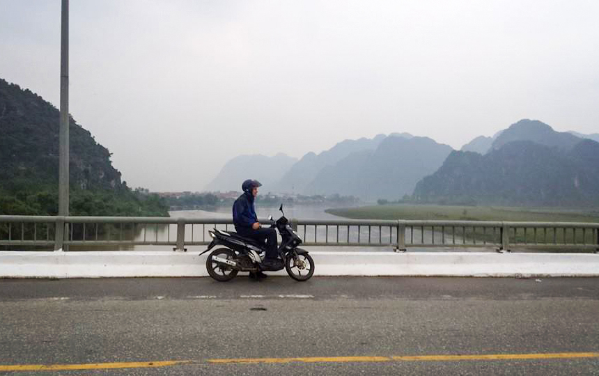 Me on scooter while exploring rural Vietnam