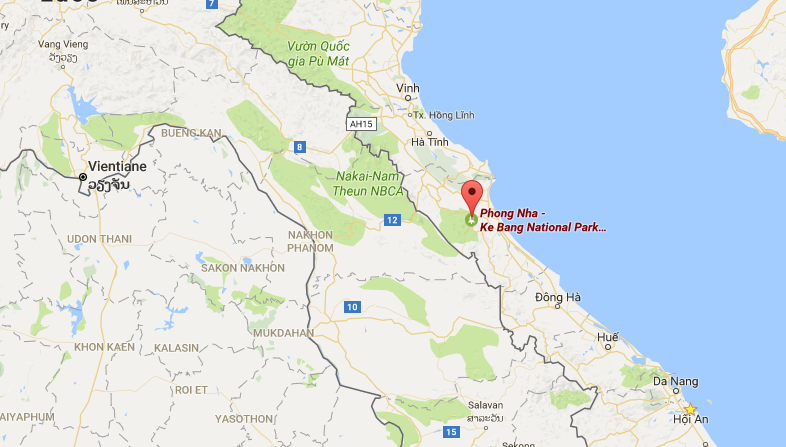 Map showing the location of Phong Nha-Ke Bang National Park in Vietnam