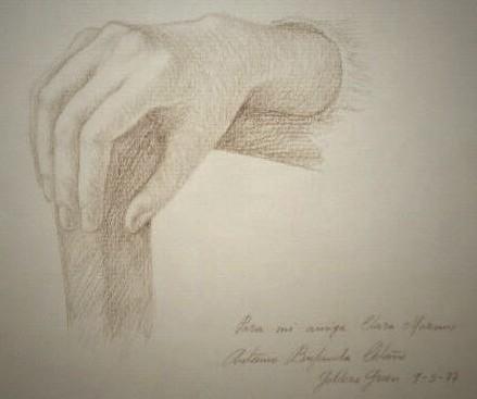 Drawing of Clara's hand by Venezuelan artist Antonio Bujanda.