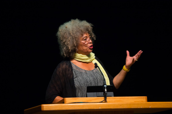 Angela Davis delivering keynote address