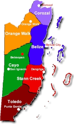 Belize Map by District