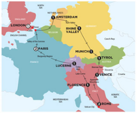 European Discovery Map Itinerary