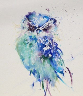 watercolor painting of a blue and green owl