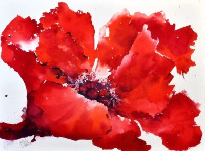 watercolor painting of a large red poppy