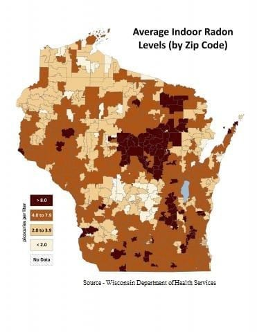 Average Indoor Radon Levels in Wisconsin