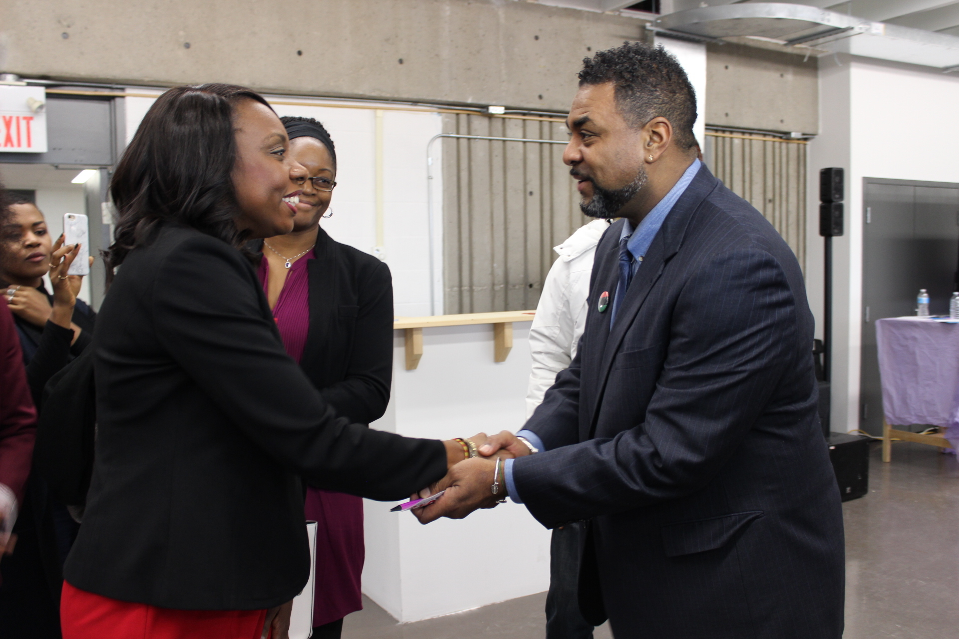 Minister of Education, Mitzie Hunter, and C5 Director, Dewitt Lee, at the public launching of C5
