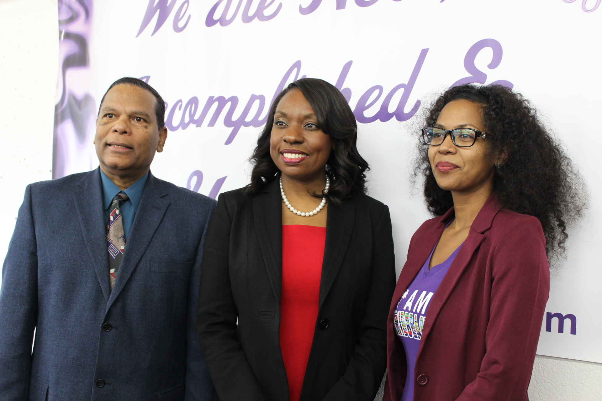 Minister of Education, Mitzie Hunter, and C5 Directors, John Laban and Camille Kerr, at the public launching of C5