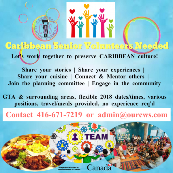 Caribbean-Canadian Senior volunteers needed ASAP