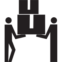 Two Residential Movers lifting icon