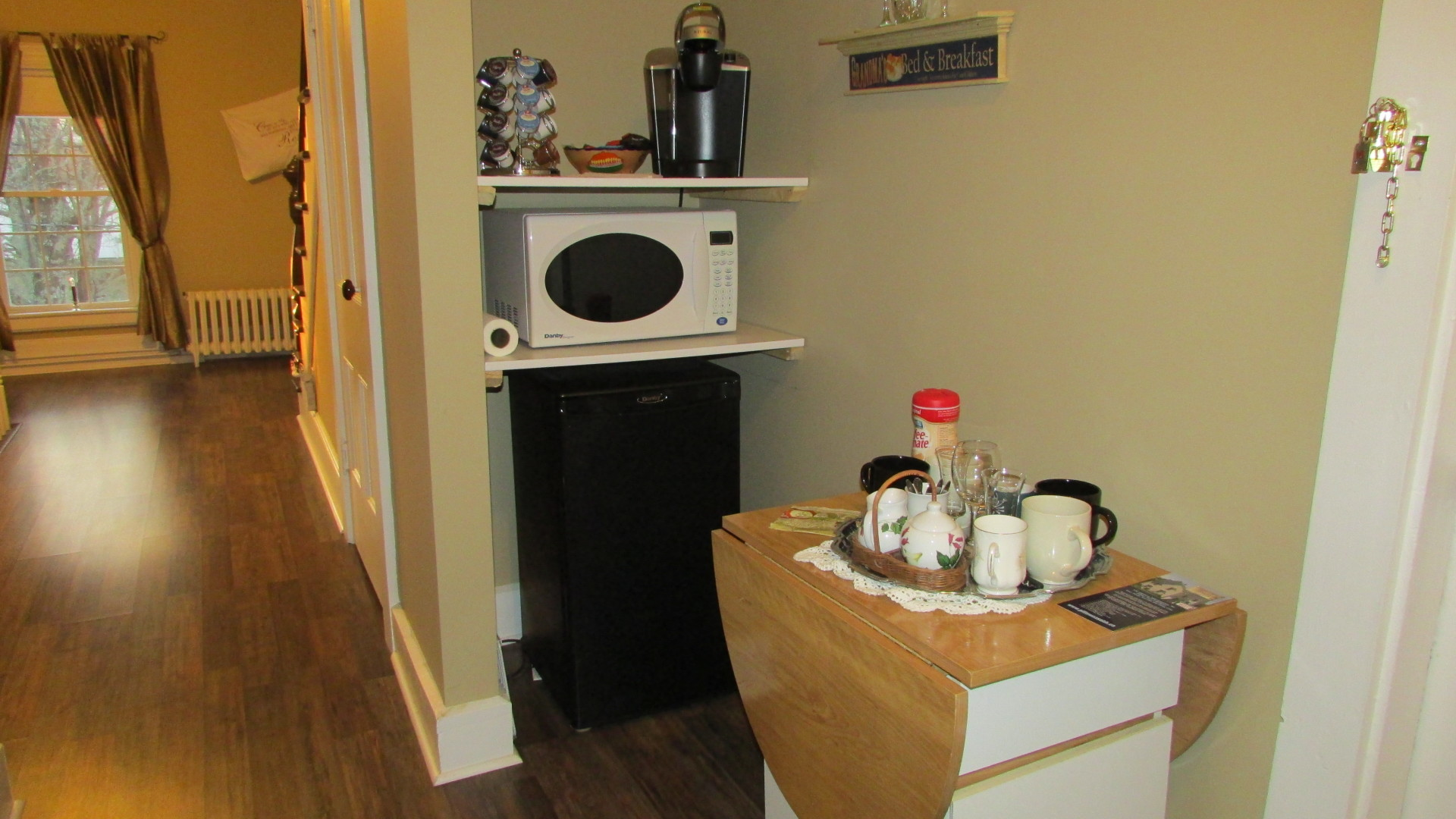 coffee tea fridge microwave