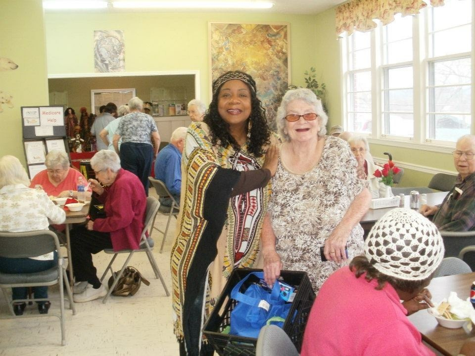 Speaking and sharing at the Senior Citizen Center