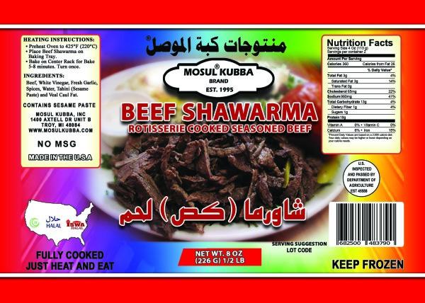 Beef Shawarma Label