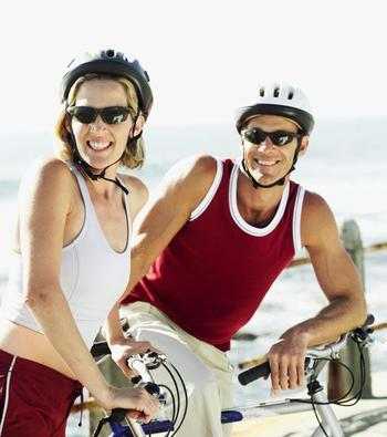 active couple bikeriding