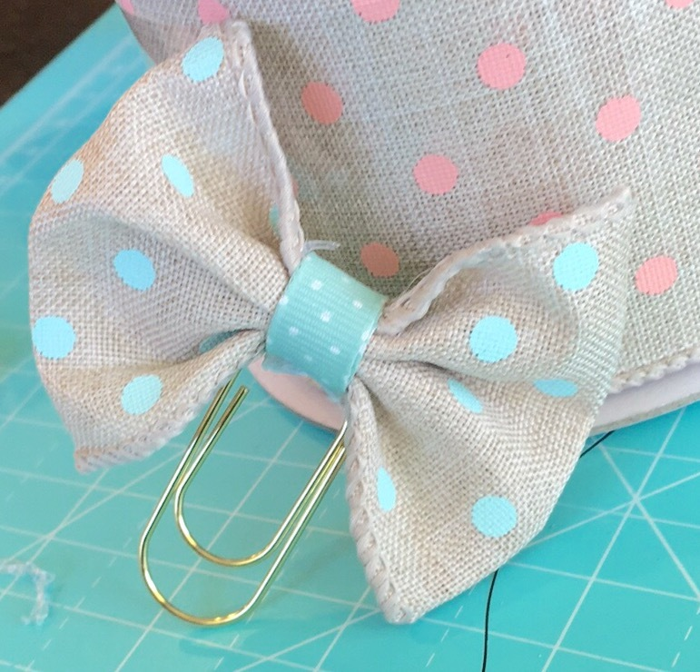 Aqua Blue Dot Burlap Bow/ Wide Gold Paperclip