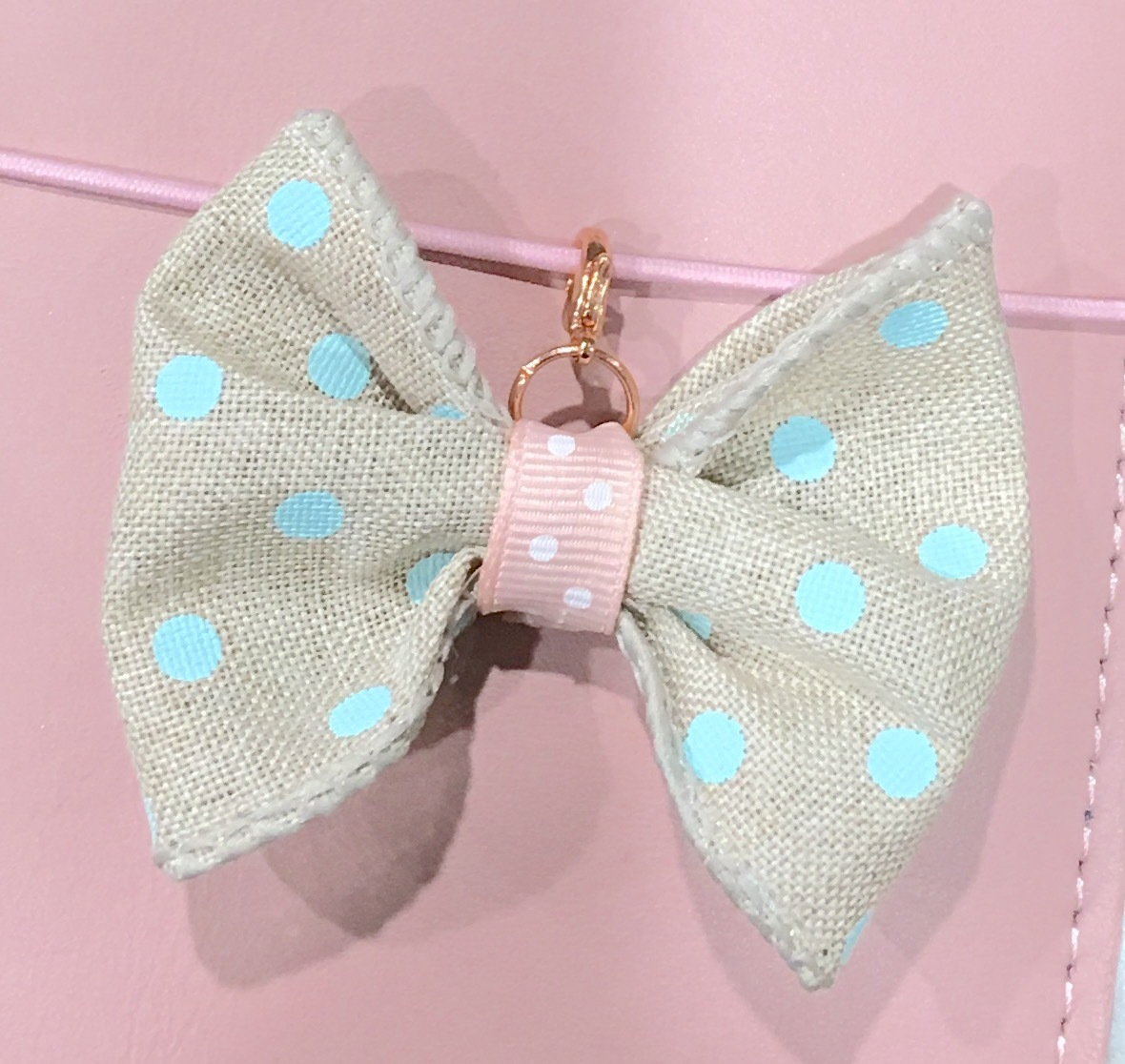 Aqua Dot and Pink Burlap Bow/Rose Gold Charm