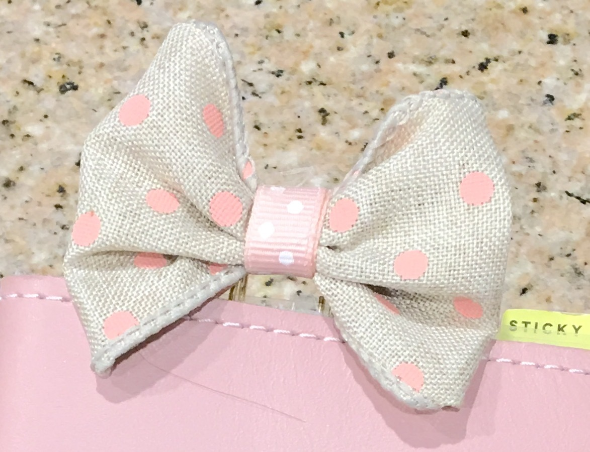 Pink Dot Burlap Bow/Wide Gold Paperclip