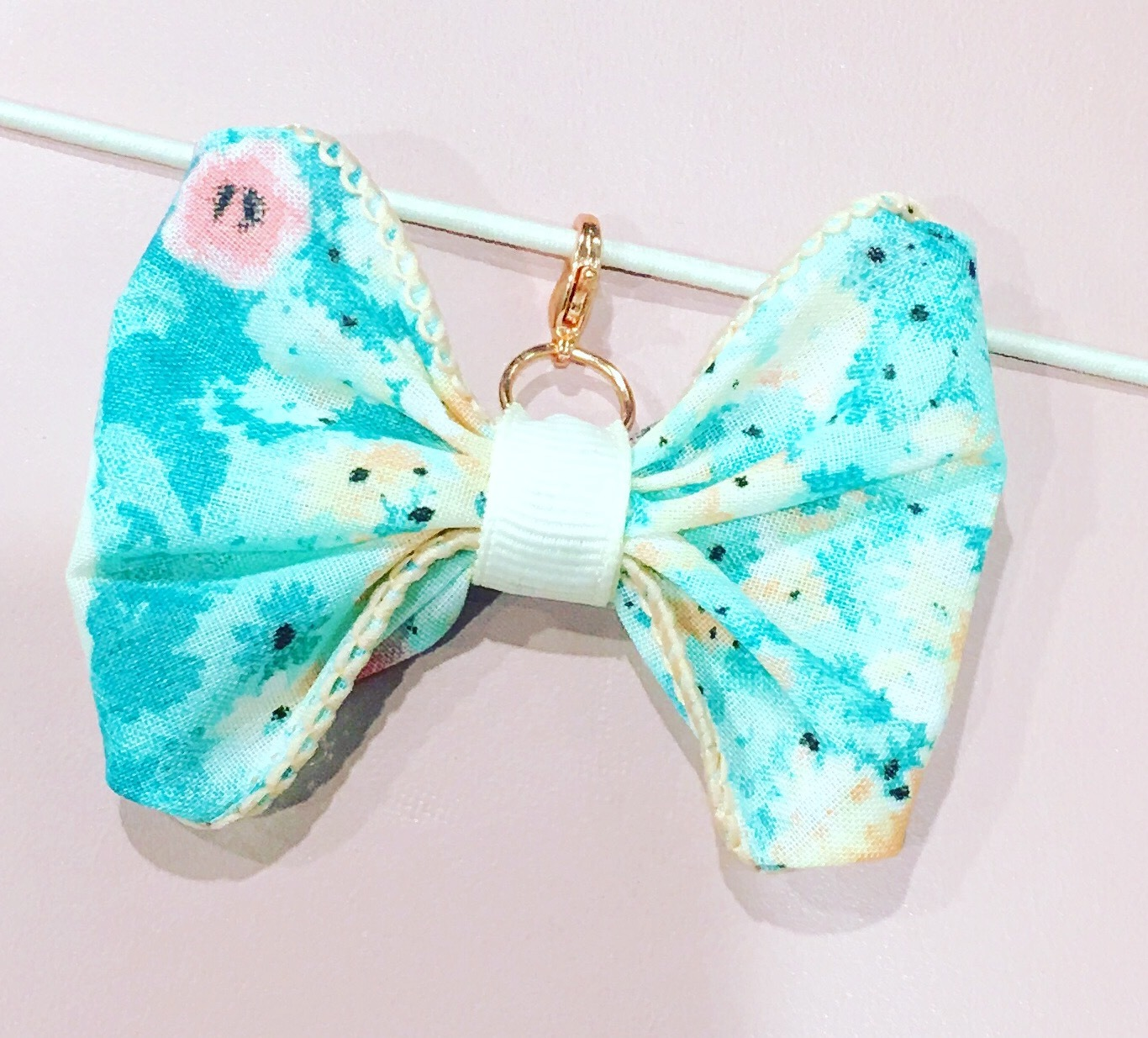 Aqua Floral Bow/Rose Gold Charms