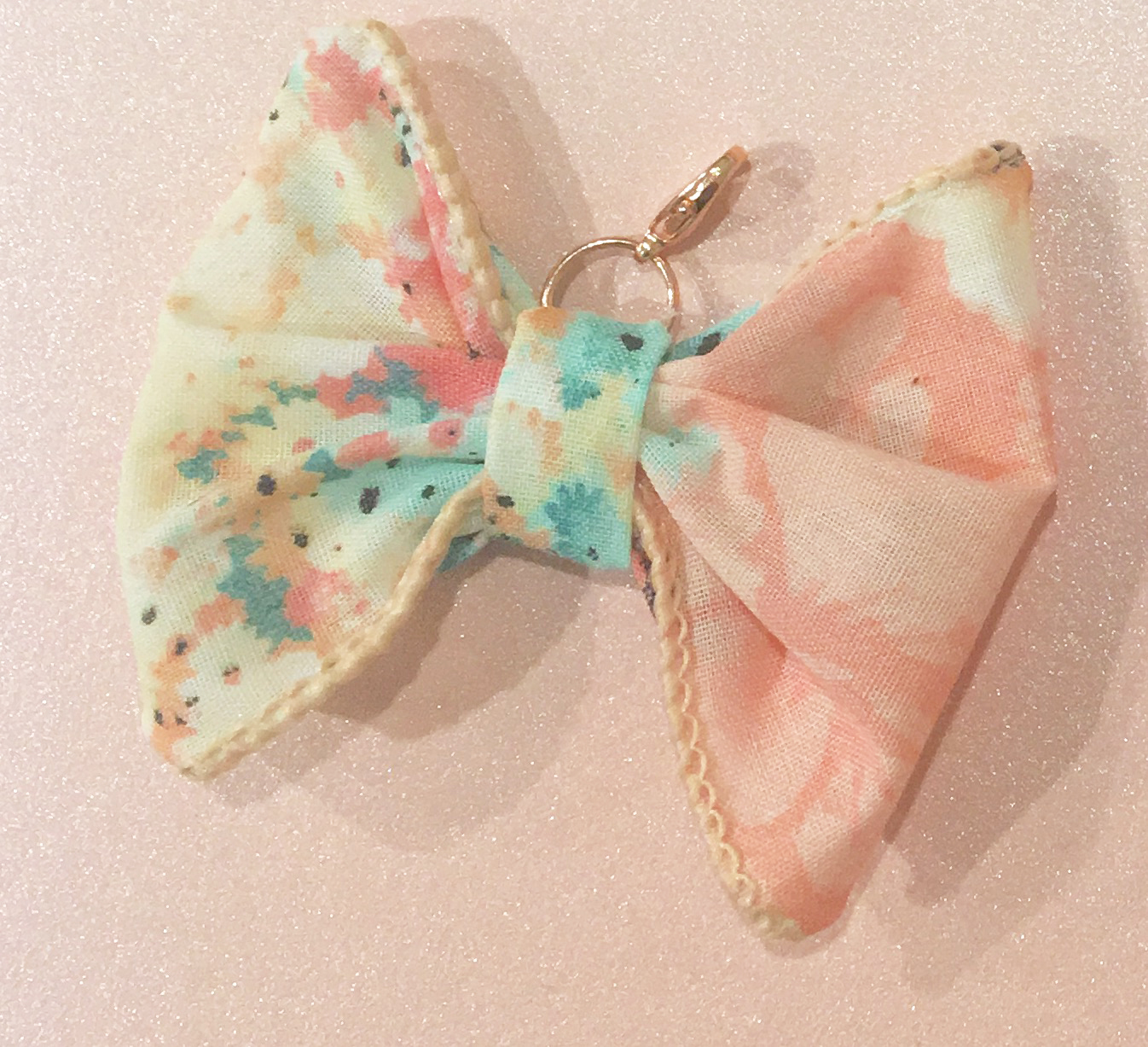 Pink/Aqua Floral Bow/Rose Gold Charm