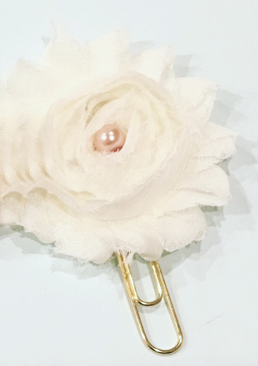 Ivory Bloom/ Gold Paper Clip