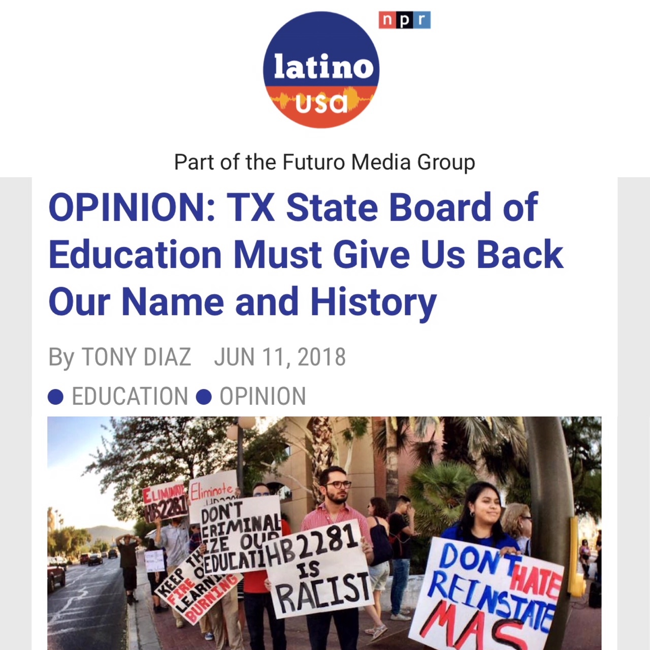 LatinoUSA: TX State Board of Ed, Give Us Back Our Name and History
