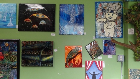 Drawings and paintings throughout the Cosmic Omelet art gallery
