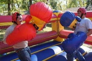Boxing Ring with Inflatable Gloves