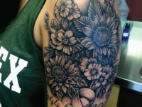 Mike Pfau Flowers Shoulder Tattoo
