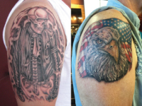 Mike Pfau Bald Eagle Demon Tattoo