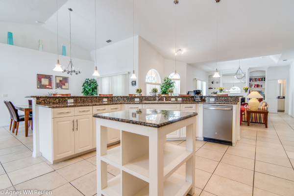 Kitchen with large counter tops