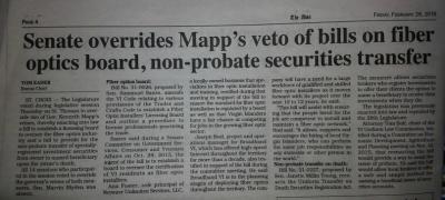 Senate overrides Mapp's veto of bills on fiber optics board, non - probate securities transfers