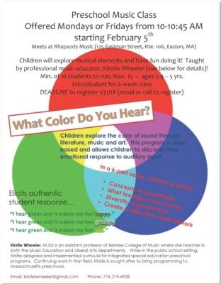 What Color Do You Hear? Preschool Music Class Beginning Feb. 5th, 2018
