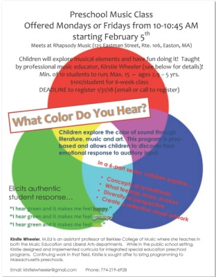 What Color Do You Hear? Preschool Music Class Beginning Feb. 5th, 2018