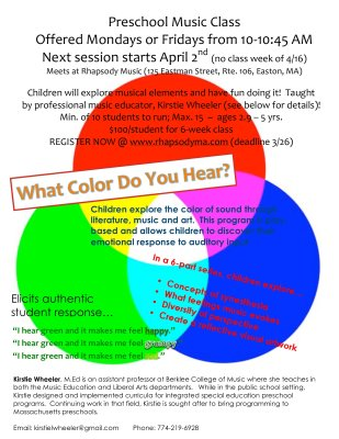 Register Today! What Color Do You Hear? Next Preschool Music Class 4/2/18!
