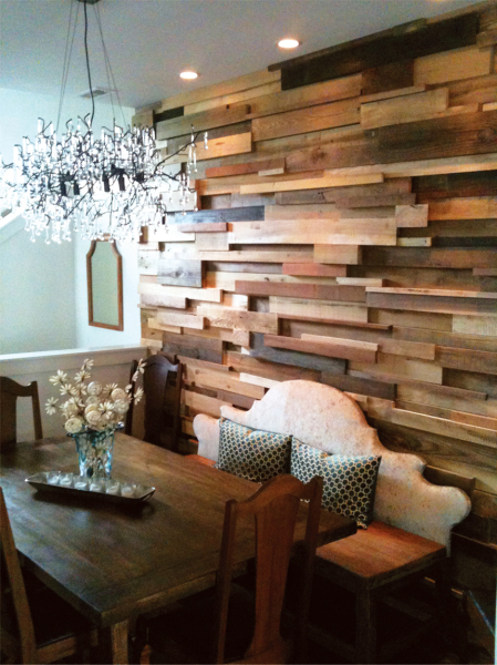 Multi Wood Wall, Custom Table and Bench